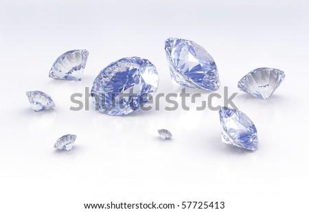 Diamonds with slight blue shade - stock photo