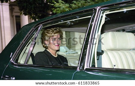 Diana, Princess of Wales leaves the Brazilian Ambassador's residence enroute to  the White House. With her is John Kerr Baron of Kinlochard. Washington DC.,  September 24, 1996
