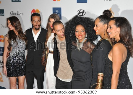 Diana Ross & family at the 2012 Clive Davis Pre-Grammy Party at the Beverly Hilton Hotel, Beverly Hills. February 11, 2012  Los Angeles, CA Picture: Paul Smith / Featureflash