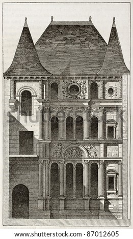Diane de Poitier house old illustration, Orleans, France. By unidentified author, published on Magasin Pittoresque, Paris, 1843 - stock photo
