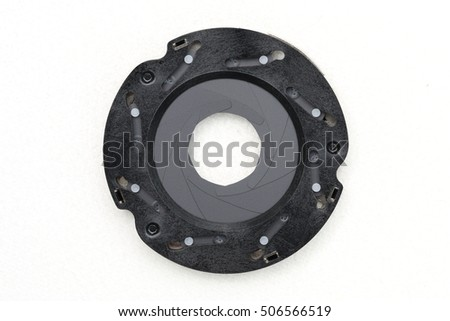 Diaphragm,The Aperture blade of the lens unit on white background