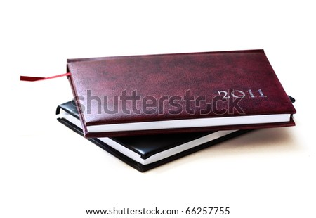 Diaries isolated on white - stock photo