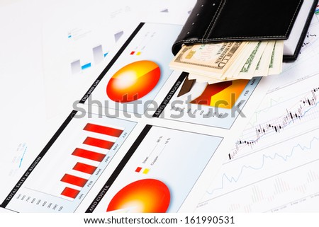 diary and business documents with charts, business still life