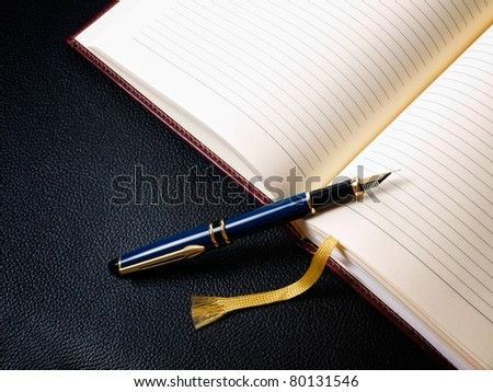 Diary book and fountain pen in retro style - stock photo
