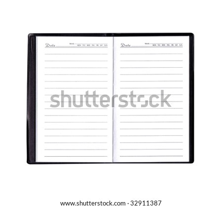 diary or organizer with blank pages with room to add your own text - stock photo