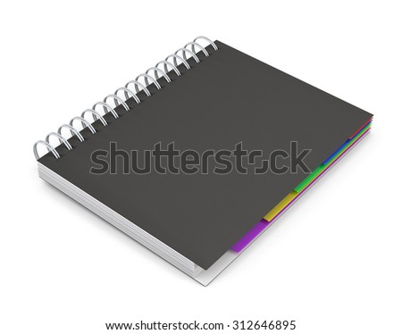 Diary with a black cover isolated on white background. Diary with spring. 3d rendering. - stock photo