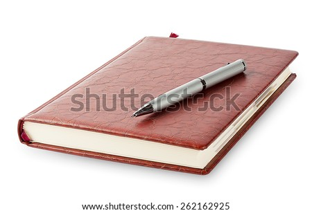 Diary with a pen lying on it isolated on a white background - stock photo