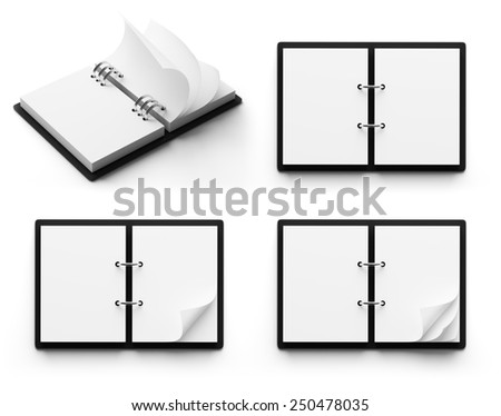 Diary with copy space isolated on white background - stock photo