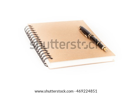 Diary with  pen  on white background