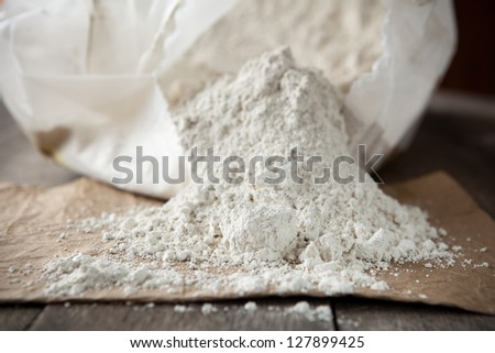 Diatomaceous earth, organic insecticide that kills by breaking the exoskeletons causing dehydration. Also used as filtration aid, abrasive, absorbent, stabilizer, thermal insulator and filler. - stock photo