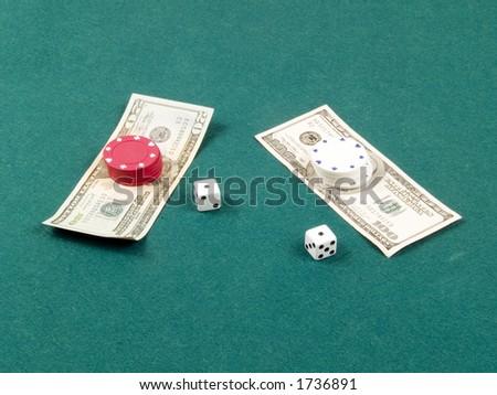 Dice and money - stock photo