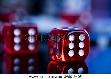 dice and poker chips