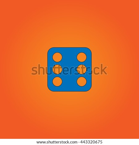 Dice 6 Blue flat icon with black stroke on orange background. - stock photo