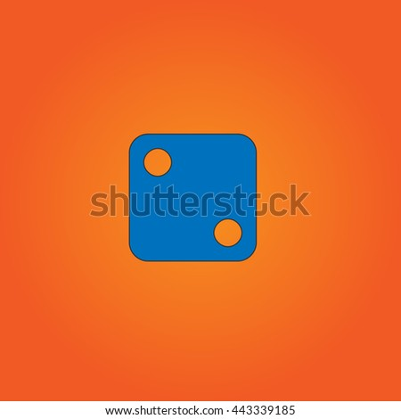 dice 2 Blue flat icon with black stroke on orange background. - stock photo