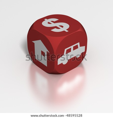 Dice: Car, Cash or House? - stock photo