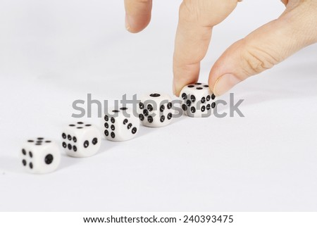 Dice corrects hands/ Dice on white background - stock photo