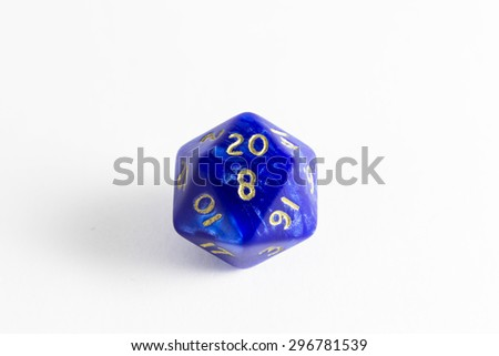dice d20 with shadows - stock photo