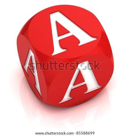 dice font letter  A - stock photo