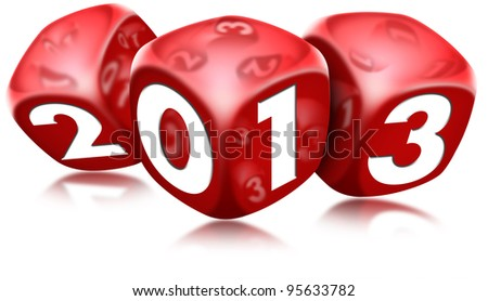 Dice 2013 Happy New Year / Three red dice with the written 2013 and reflections - stock photo