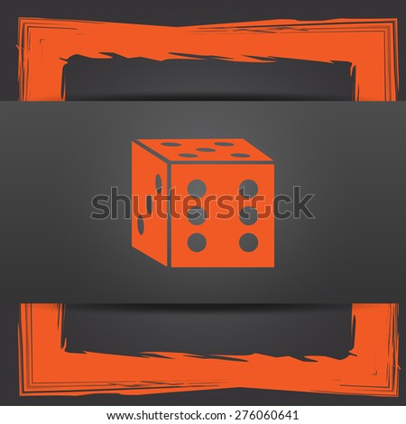 Dice icon. Internet button on grey background. - stock photo