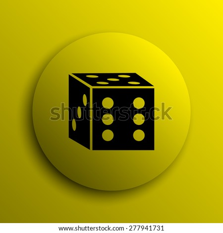 Dice icon. Yellow internet button.  - stock photo