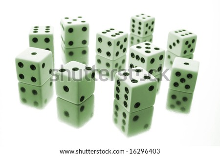 Dice in Green Tone on White Background