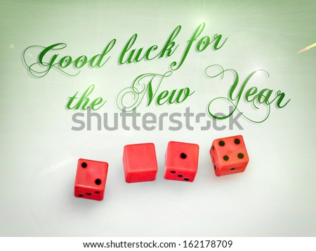 dice in 2014 with the wishes for the new year - stock photo