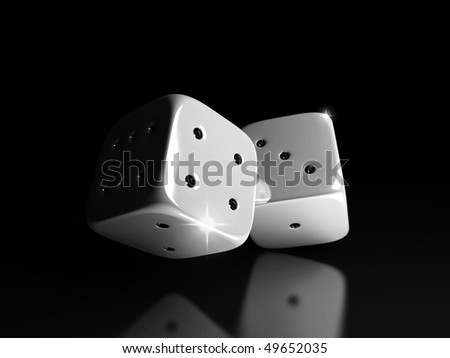Dice isolated black color - stock photo