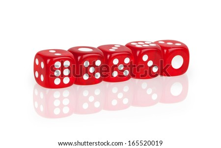 dice lined in a row isolated on white background