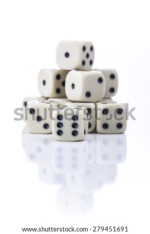 dice on a white background - stock photo