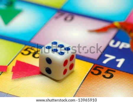 Dice on game board - stock photo
