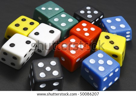 dice on the black background