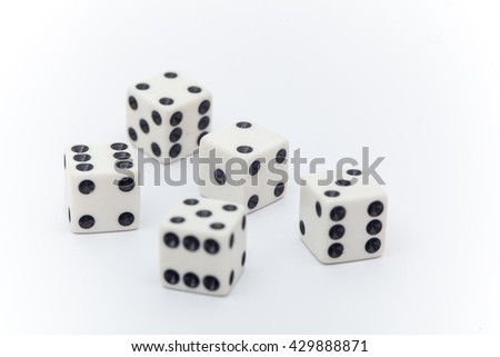 Dice on the white background, Dice isolation