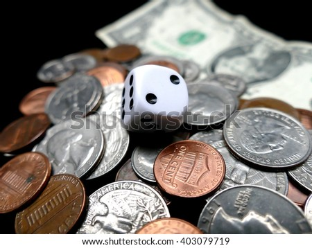Dice, paper money and coins. Gambling concept