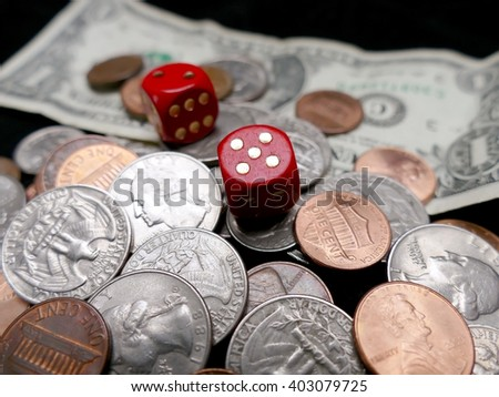 Dice, paper money and coins. Gambling concept - stock photo