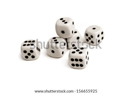 Dice. Plastic dice pile as board game or gambling concept. - stock photo