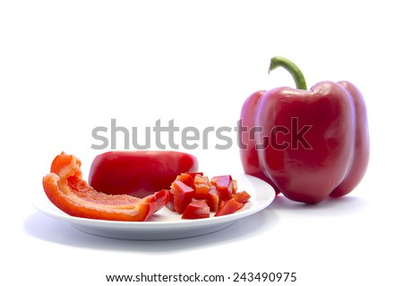 Dice red bell chili cutting and sliced ingredient with raw material on white background - stock photo