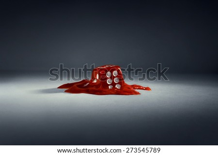 Dice. Red melting cube + Path - stock photo