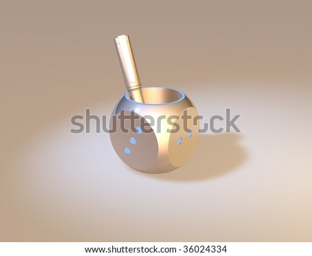 dice shape pen holder with a pen - stock photo