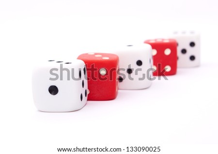 Dice.Three-dimensional gaming dice on a white background - stock photo