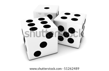 Dice to Gambling Isolated on a White Background