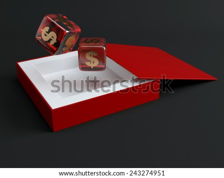 Dice with dollar sign. 3d render illustration - stock photo
