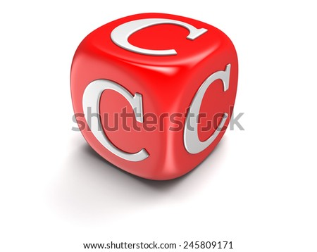Dice with letter C (clipping path included)