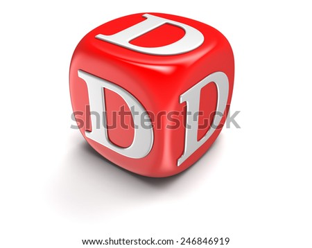 Dice with letter D (clipping path included) - stock photo