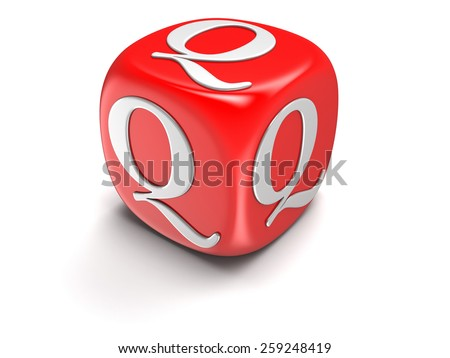 Dice with letter Q (clipping path included) - stock photo