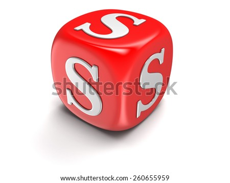 Dice with letter S (clipping path included) - stock photo
