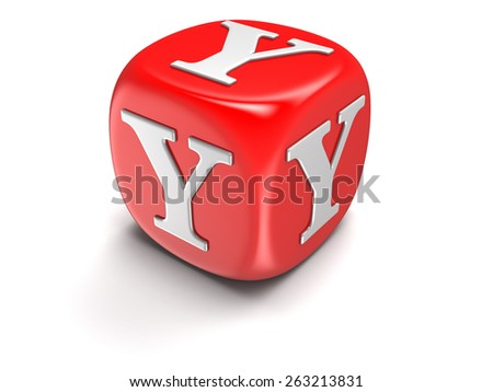 Dice with letter Y (clipping path included) - stock photo