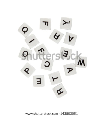 DIce with letters, isolated on white background