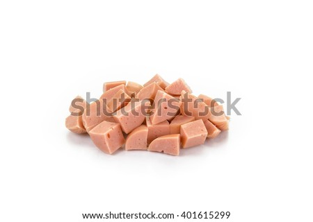 diced cooked pork sausages isolated on white background - stock photo