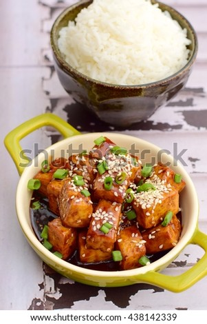 Diced tofu with soy sauce, sesame seed and chives. Served with steamed rice
